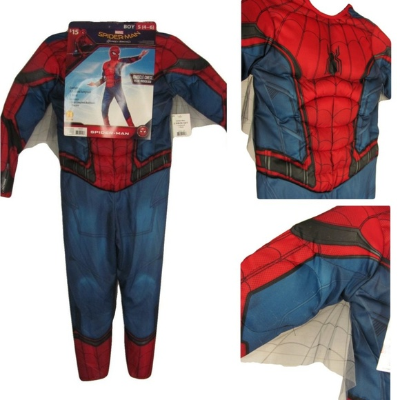 Deluxe Muscle Blue Red Gray Boys Kids Jumpsuit Superhero SZ 10-12 L Solid